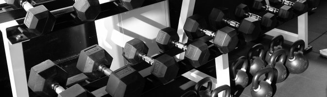 A photograph of gym weights indoors