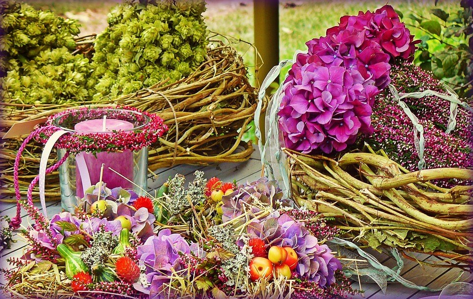 A selection of colourful wreaths
