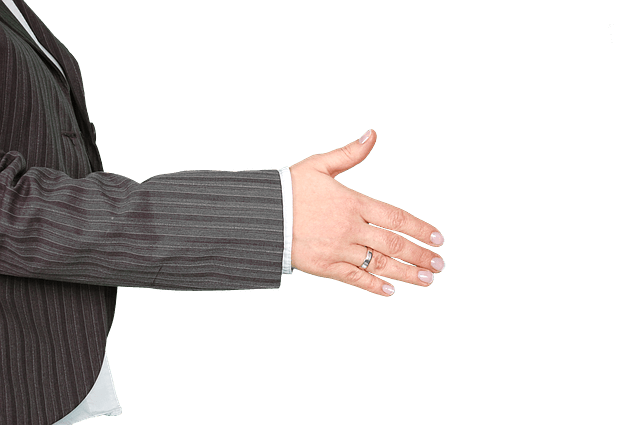 An outstretched hand ready to shake hands