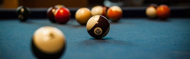 Pool table with balls on