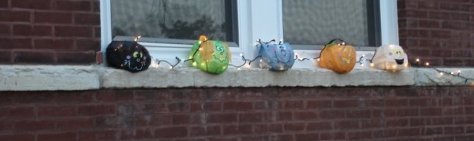 Halloween decorations on a window sill