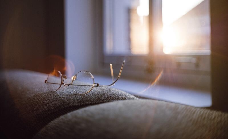 The sun shining through a window