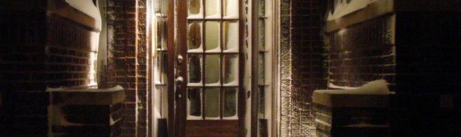 A door covered in snow