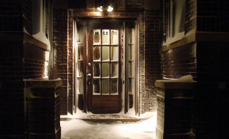 A door covered in snow