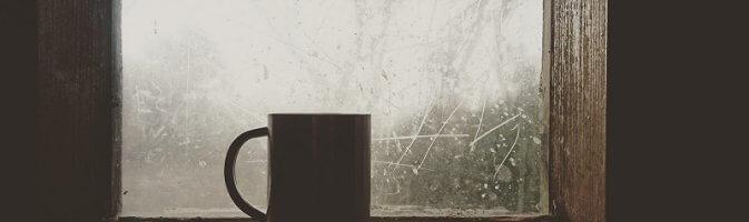 Coffee on a window sill