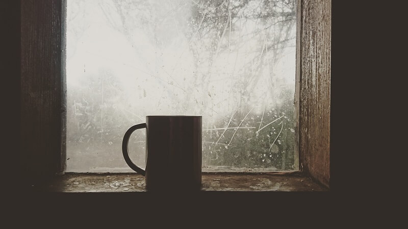 Coffee on a window sill