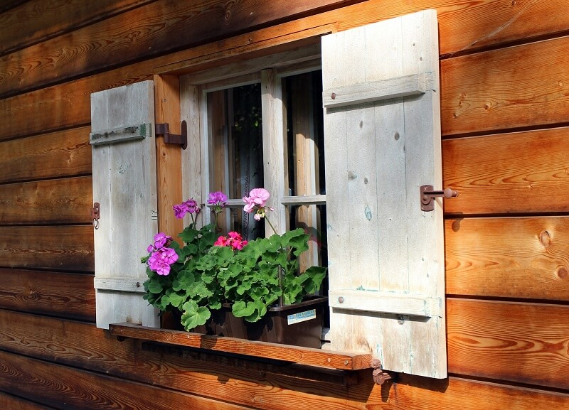 Shutters and a flower box