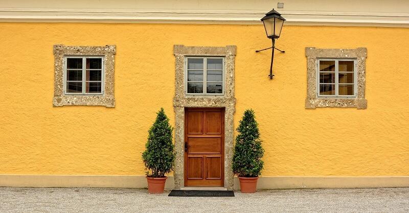 Front door made of wood