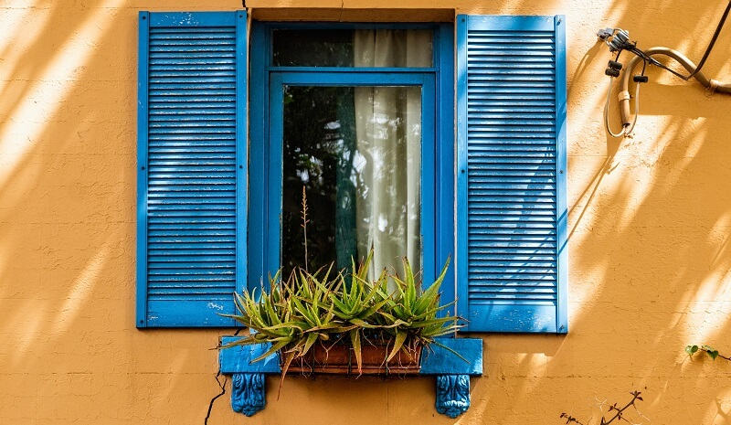 Blue window frames