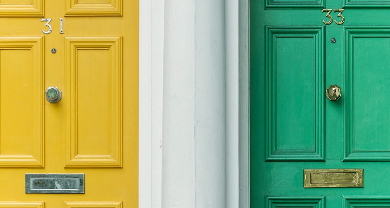 Bright coloured doors